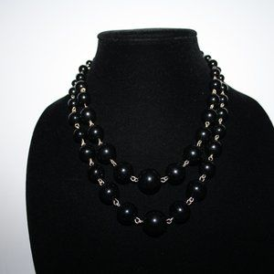 Vintagejelyfish Jewelry - Silver and black beaded layered necklace adjust.